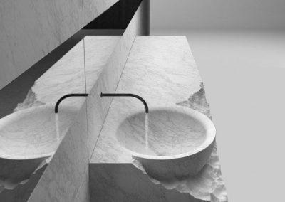 évier brut en marbre carrare