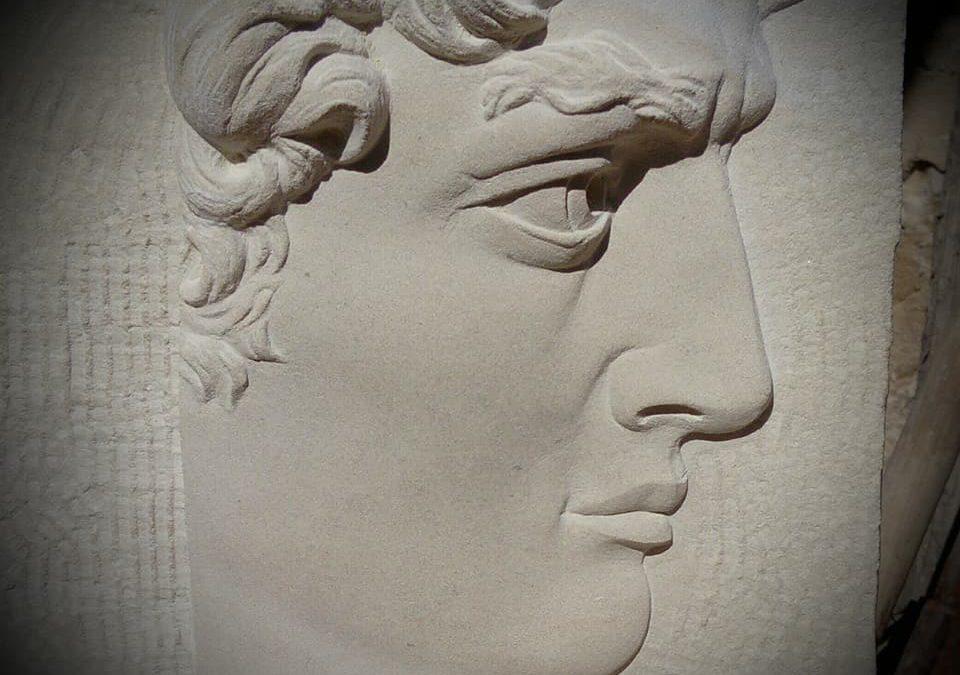 """Bas relief sur pierre de Caen """"David de Michel-Ange"""""""