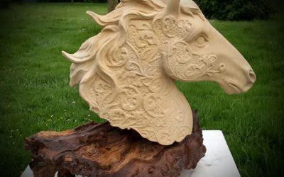 "Sculpture en pierre de Caen ""Tête de cheval"""