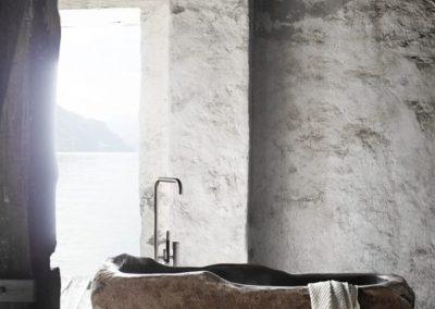 baignoire bloc brut en pierre massive