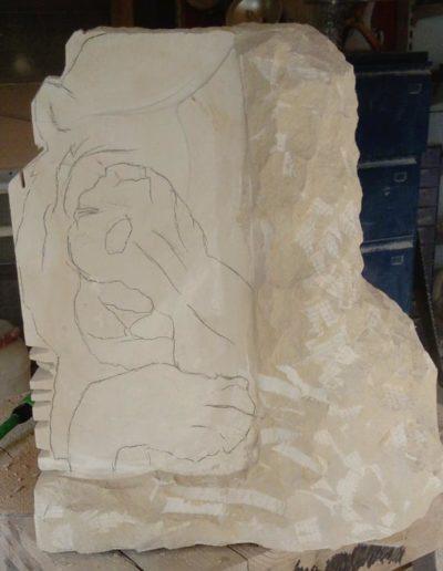 Pierre utilisée pour la reálisation de la sculpture du lion