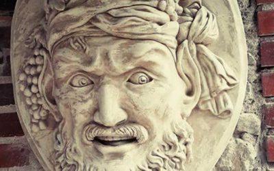 """Mascaron en argile et plâtre – """"Baco"""" (Dieu du vin)"""