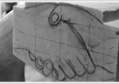 Sculpture en marbre de Carrare - Poignée de Mains