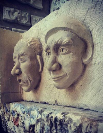 Sculpture sur pierre de Caen - Tête sculpté sur clés de Voûte