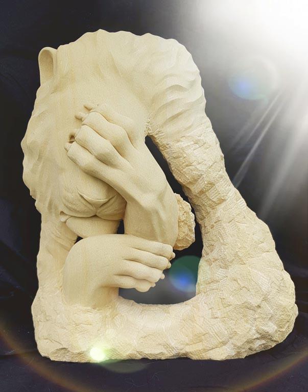 Sculpture sur pierre de Caen - Sculpture animaux Lion